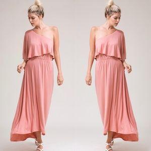 One Shoulder Midi Dress - DUSTY PINK